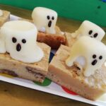 spooky ghostly marshmallow topped blondies