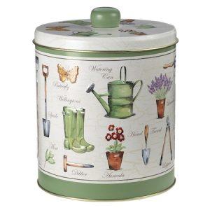 gardening round shortbread tin
